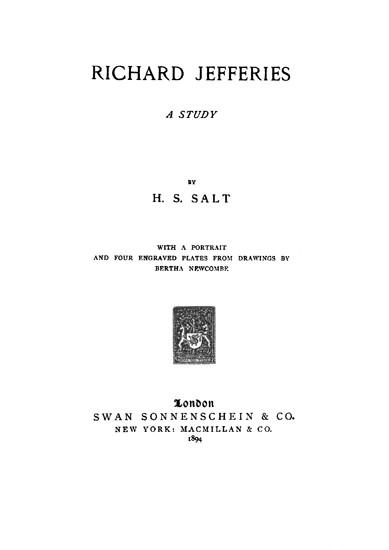 Richard Jefferies A Study - Henry S. Salt