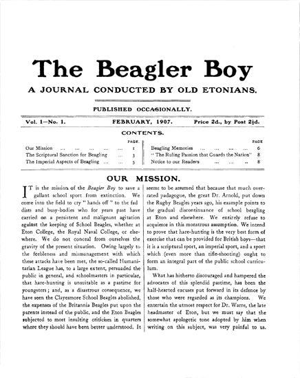 Humanitarian League - The Beagles Boy Vol. 1 No. 1
